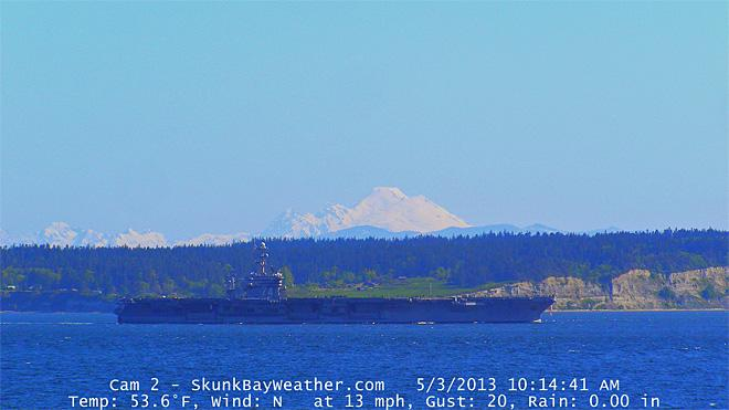 What a day for a homecoming. Nimitz class John C Stennis off Double Bluff, Whidbey Island.  Mt. Baker in the background. (Photo: Greg Johnson, Skunkbayweather.com)