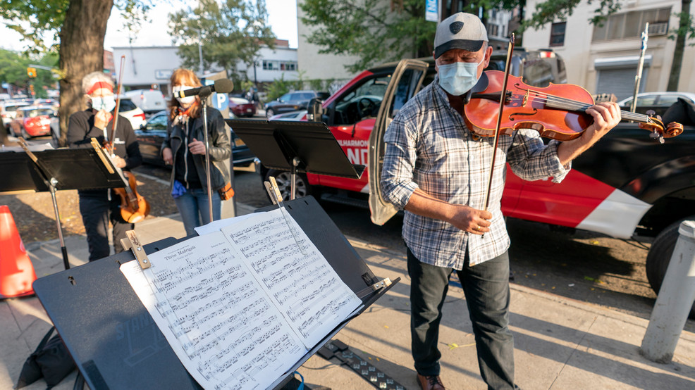 With concert halls shut, NY Philharmonic takes to sidewalk