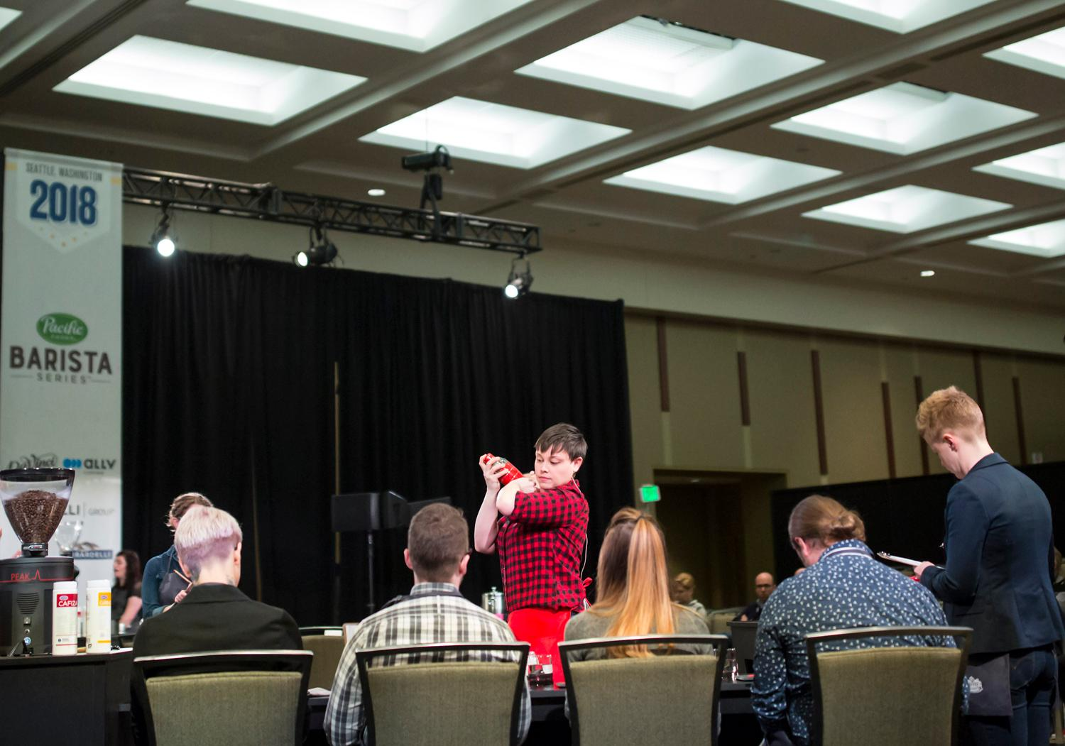After two separate rounds of qualifying events in 10 different cities, 36 competitors proved their worth to compete in the 2018 U.S. Barista Coffee Champions at the Washington State Convention Center. The competition will span the course of the weekend. (Sy Bean / Seattle Refined)