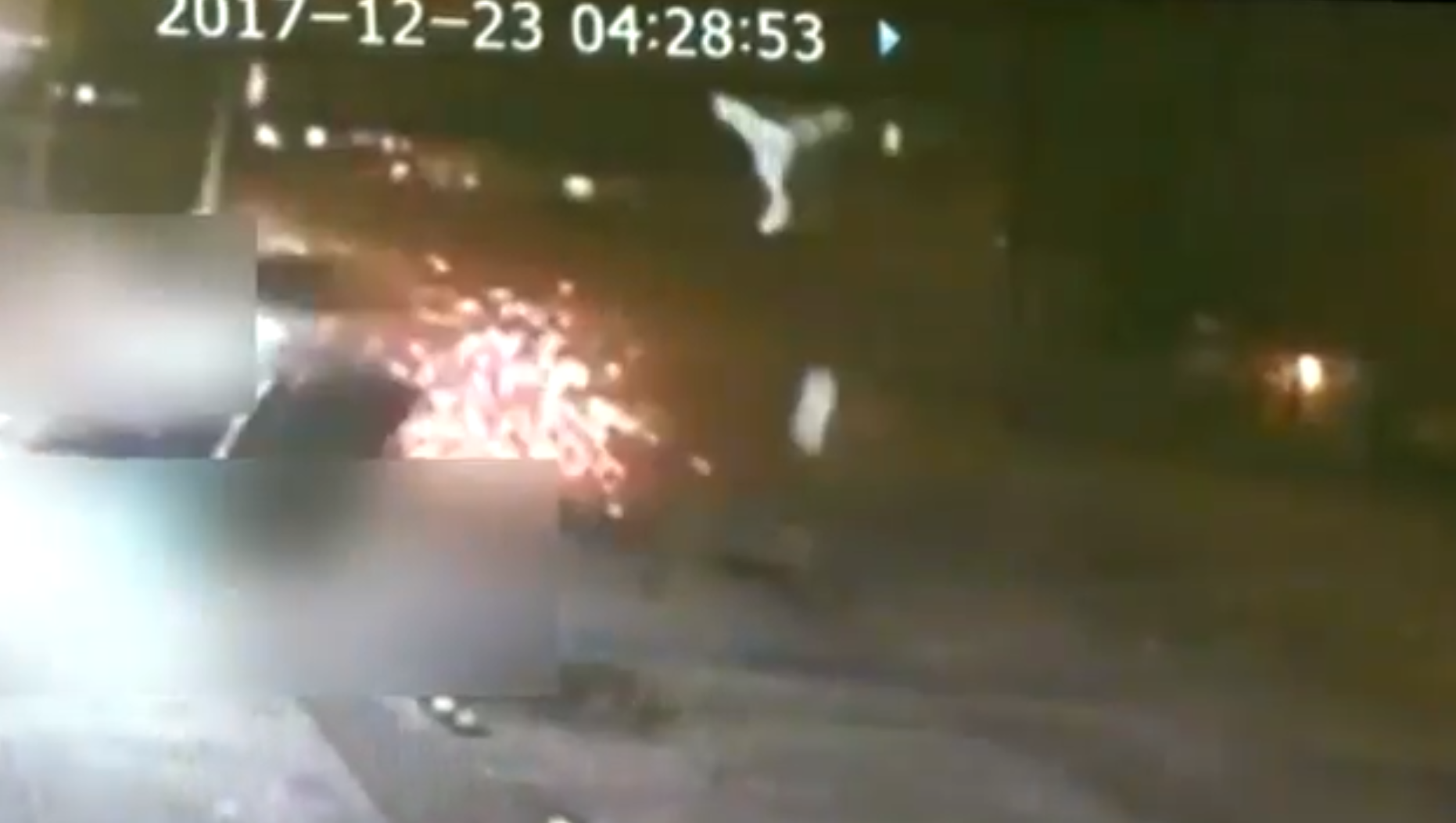 Surveillance video shows the impact of Greenacre's deadly hit-and-run. (WPEC)