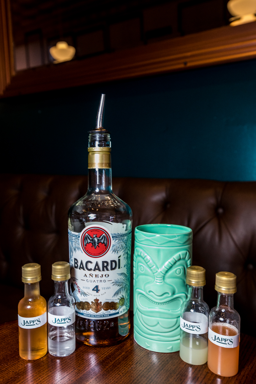 Different liquor companies have joined in on the project, providing goodies to go with each kit. For example, The Hemingway Daiquiri kit came with an awesome tiki glass from Barcardi Rum. Ward 8's came with a face mask and enamel pin from Elijah Craig. / Image: Catherine Viox // Published: 10.20.20
