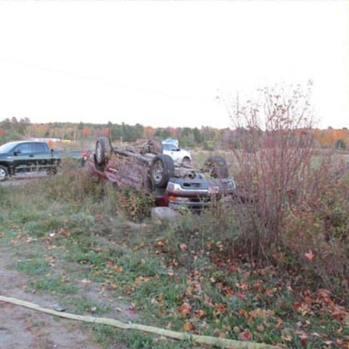 Saturday, a two-vehicle crash caused a roll-over on High Street in West Gardiner, police say. (Maine State Police)