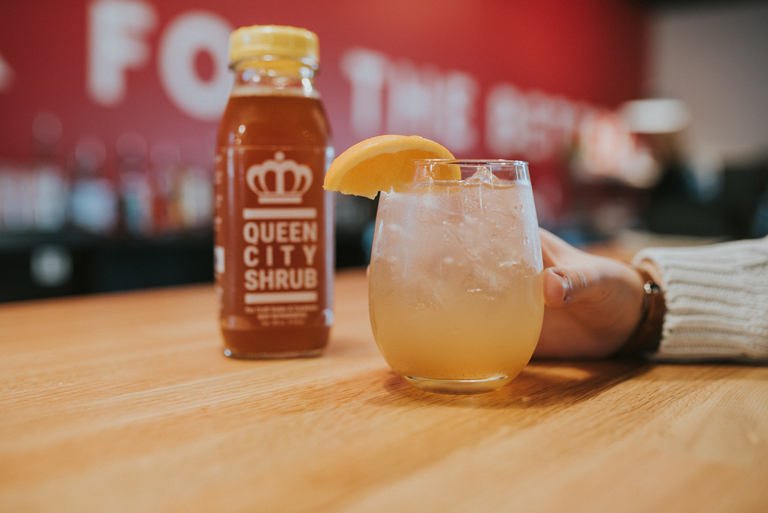 Moroccan Nights made with Queen City Shrub, bourbon, soda, and a twist of orange / Image: Brianna Long // Published: 4.11.18<p></p>
