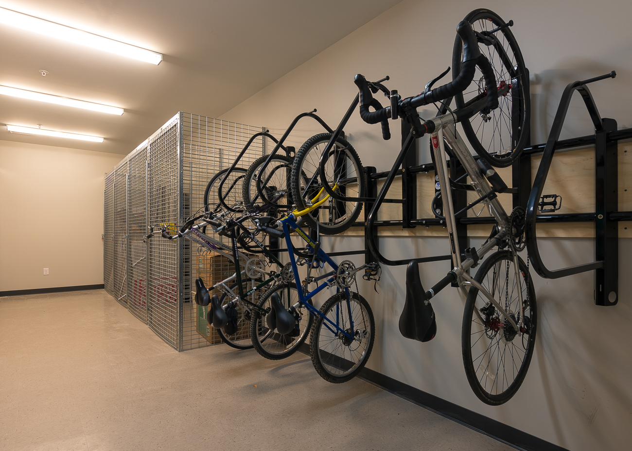 A storage room with wall-mounted bike racks / Image: Phil Armstrong, Cincinnati Refined // Published: 8.10.18