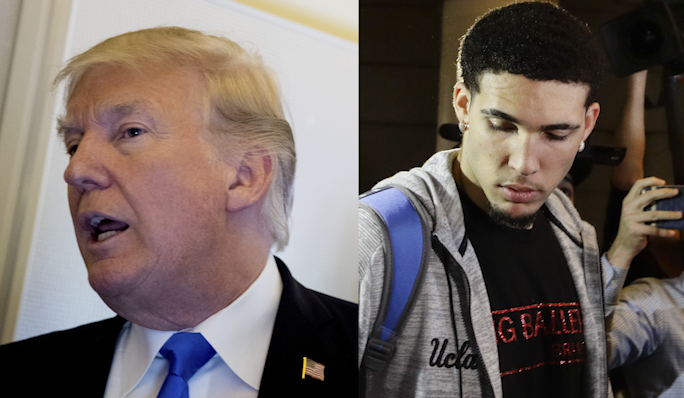 President Trump and{&amp;nbsp;}LiAngelo Ball. (Left:{&amp;nbsp;}AP Photo/Andrew Harnik, Right:{&amp;nbsp;}AP Photo/Jae C. Hong)<p></p>