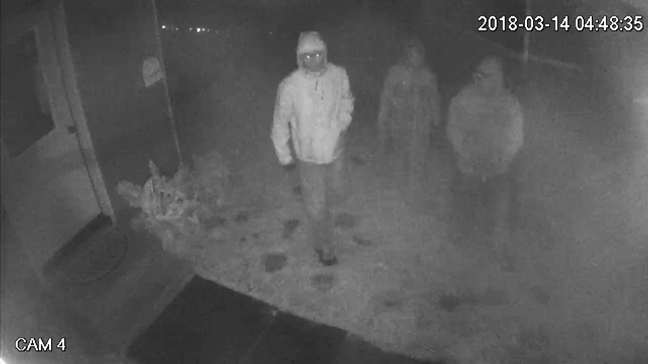 <p>Video surveillance footage shows three people entered onto the property and remained there for a couple minutes and appeared to leave, March 14, 2018. (via Coos County Sheriff's Office)</p>