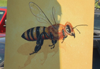 Bee-centric gathering celebrates the upcoming start of a new mural