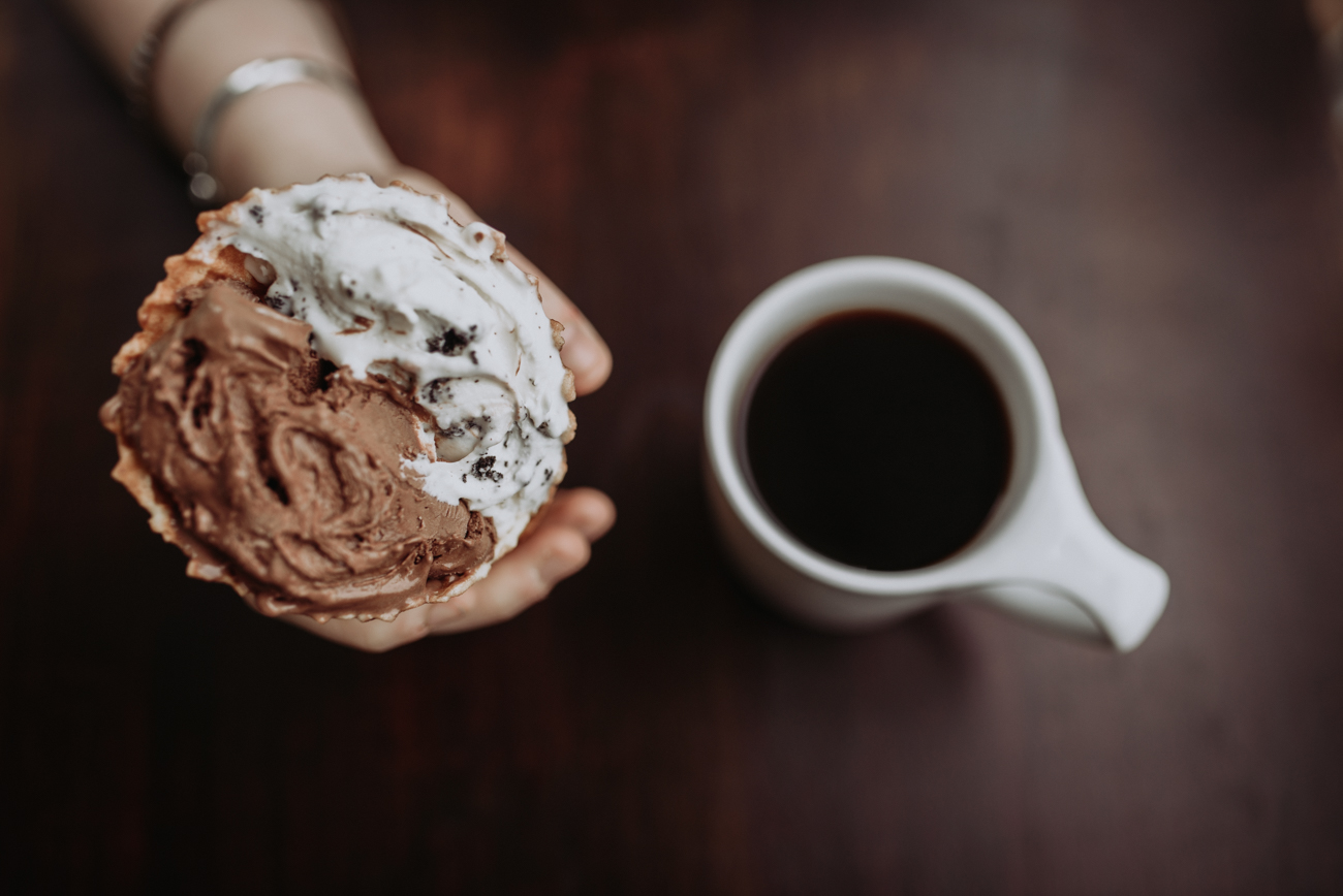 Chocolate gelato with cookies and cream in a homemade waffle cone with a drip coffee / Image: Brianna Long // Published 5.24.18<br>
