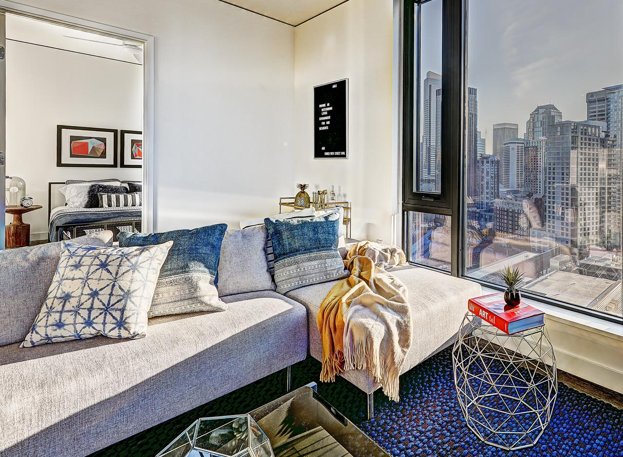 The living area in a two bedroom apartment at AMLI Arc
