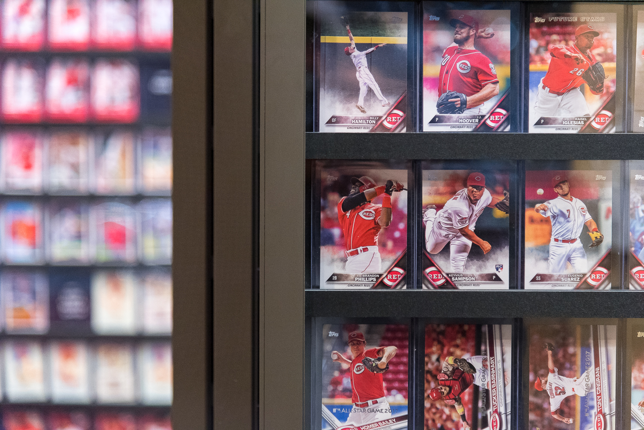 The baseball card archive features swiveling cases displaying decades of cards going back to the early 20th Century teams. / Image: Phil Armstrong, Cincinnati Refined // Published: 4.20.19