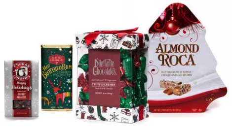 Bartell's has stocked the shelves with Fremont's Theo chocolate, Chukar Cherries limited edition holiday gift sets, and Almond Roca tins.