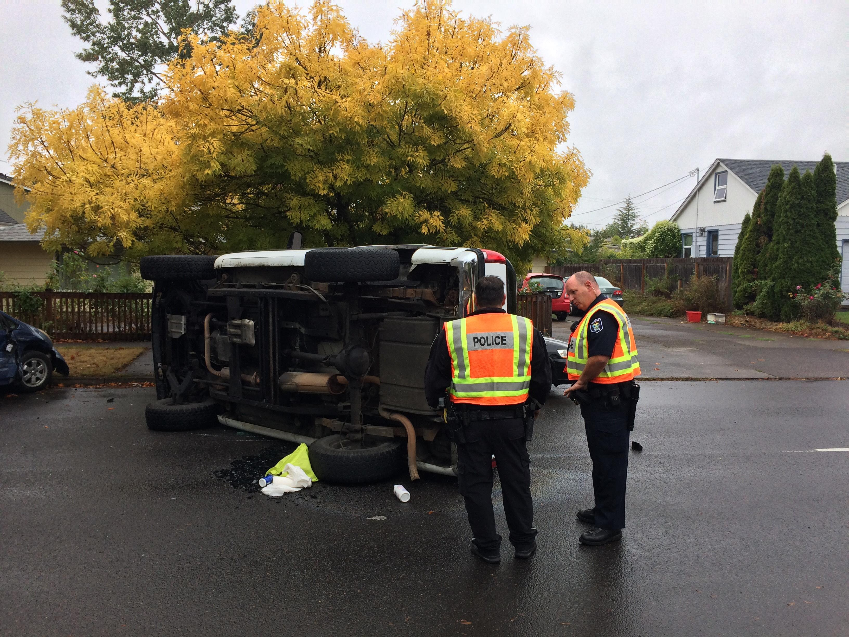 A crash involving a Toyota Prius and a GMC Yukon left the SUV on its side on Hilyard Street near 23rd Avenue in Eugene on Friday. No word yet on whether anyone was injured or the cause of the crash. This story will be updated.