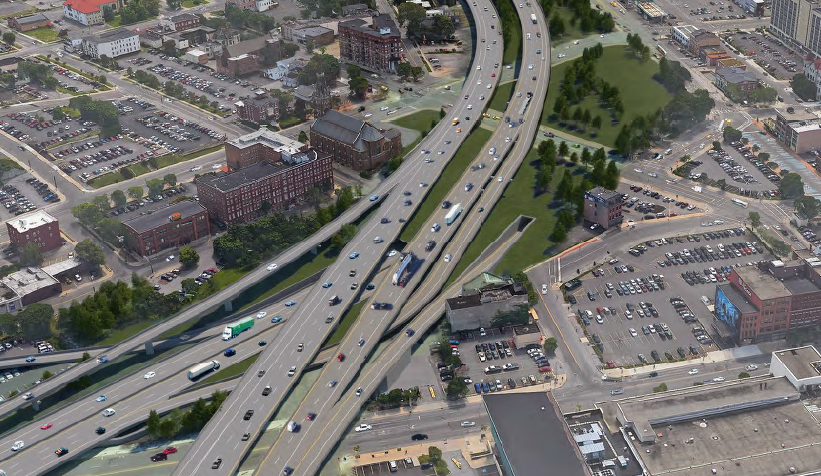 A rendering of the tunnel option identified as most feasible by WSP, the independent firm that studied tunnel and depressed highway options for I-81 in Syracuse/ Photo from WSP study.<p></p>
