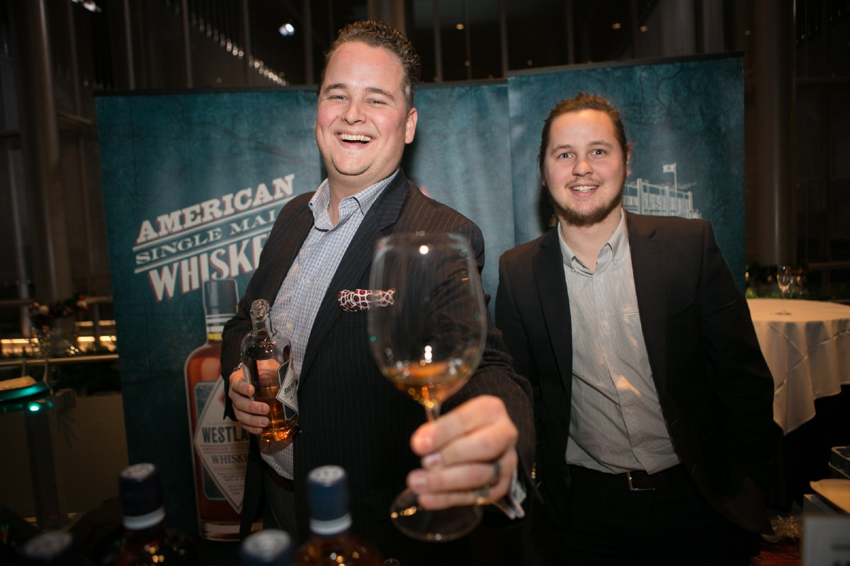 A few of the folks at Westland Distillery, pouring their American Single Malt Whiskey. (Image: Design StarChefs)