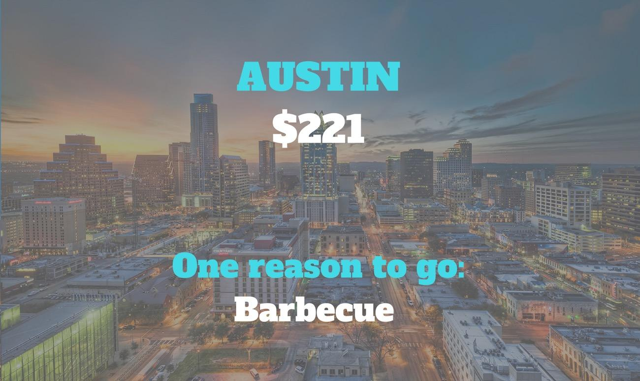CITY: Austin / DISTANCE: 967 miles from Cincinnati / REASON TO GO: We've heard they have direct-flight-to-Austin-from-Cincinnati-good barbecue down there. Planning your #MeatTrip won't cost you an arm and a leg if you want to compare our hometown Eli's to what Bat City has to offer. / Image courtesy of Austin Visitor Center // Published: 8.30.18
