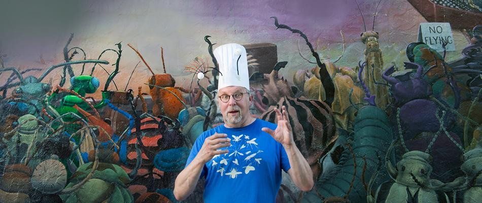 Chef Gordon has published a handful of books ranging in buggy topics from The Secret World of Slugs and Snails to the popular Eat-A-Bug Cookbook, as well as given talks everywhere from San Diego Comic Con and Yale University to the Ripley's Believe it Or Not! Museum. (Image: Chona Kasinger / Seattle Refined)