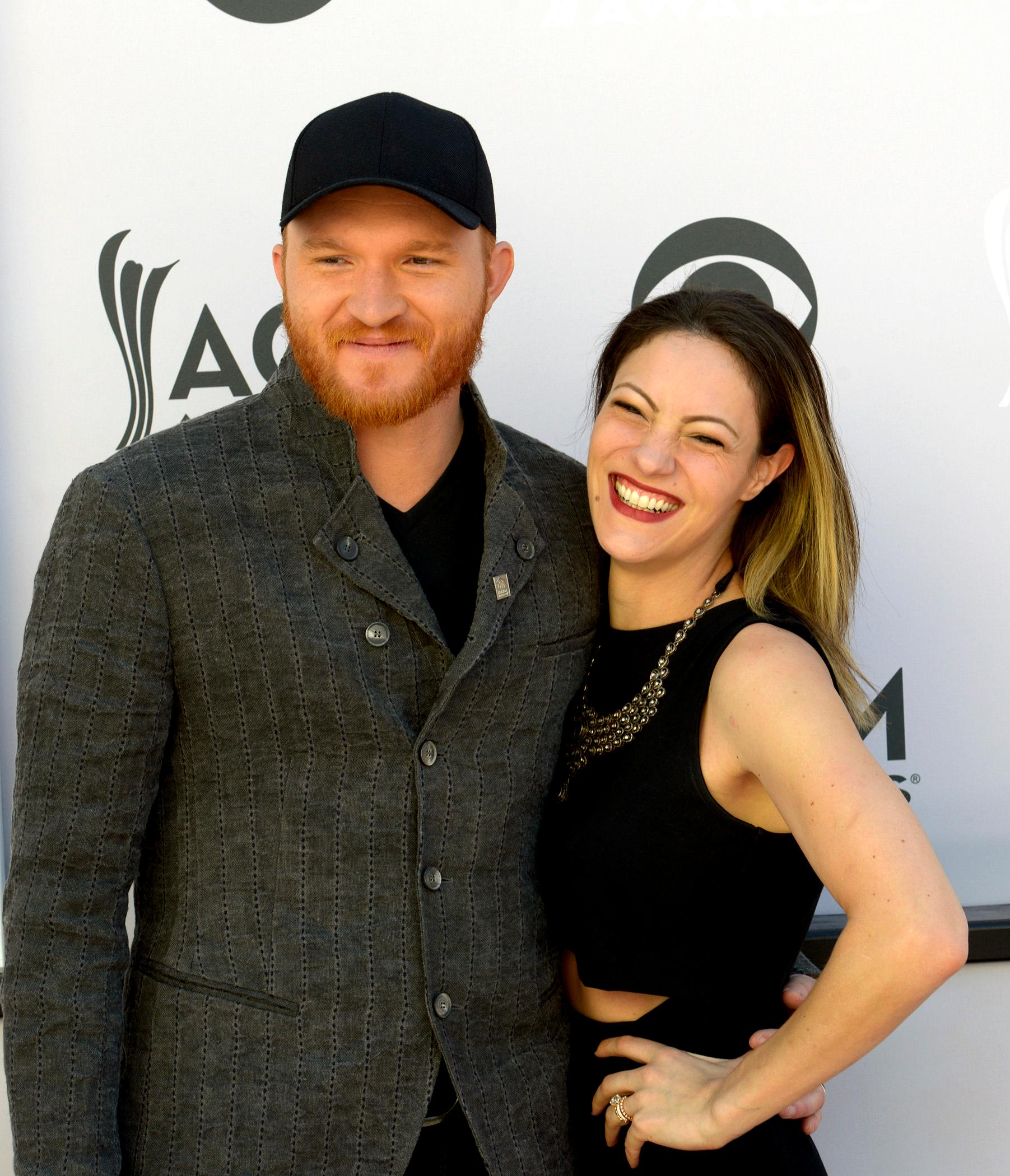 Singer Eric Paslay and wife Natalie Harker walk the Academy of Country Music Awards red carpet at T-Mobile Arena. Sunday, April 2, 2017. (Glenn Pinkerton/ Las Vegas News Bureau)