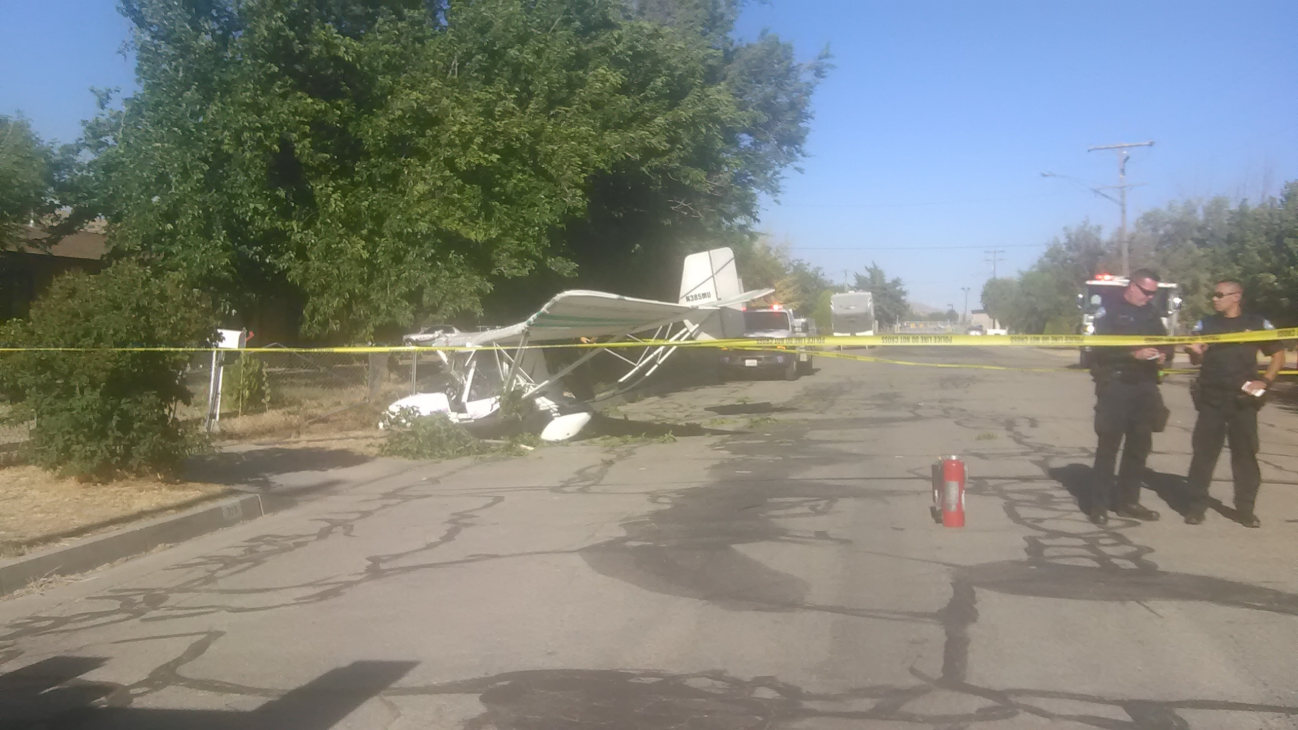 A photo provided by Hayley Pleis on Thursday, June 29, 2017, shows the aftermath of a small plane crash near the airport in Tehachapi, Calif.