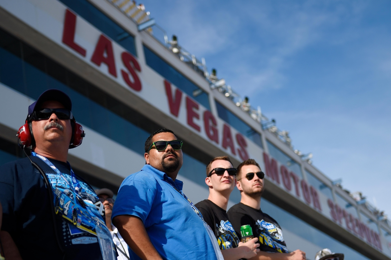 Fans stand for a restart during the NASCAR Xfinity Series Boyd Gaming 300 Saturday, March 11, 2017, at the Las Vegas Motor Speedway. (Sam Morris/Las Vegas News Bureau)
