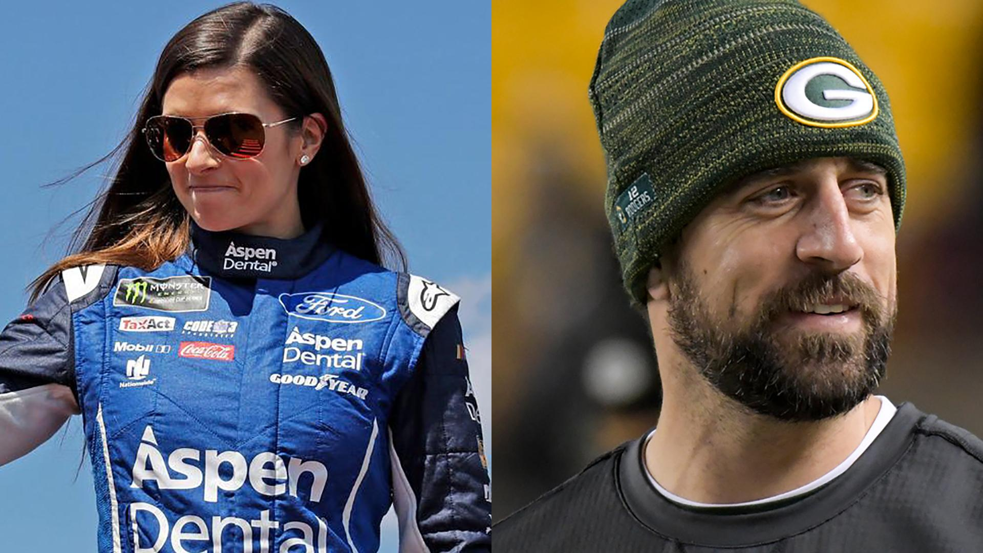 L-R July 16, 2017, file photo of NASCAR driver Danica Patrick,  Nov. 26, 2017 file photo of Green Bay Packers injured quarterback, Aaron Rodgers (AP Photo/Don Wright, File)