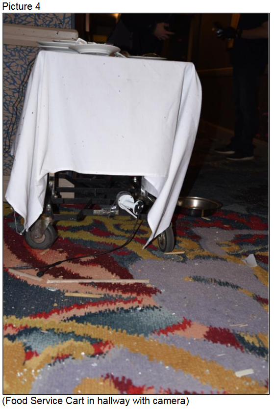 Food Service Cart in Hallway with Camera (Courtesy LVMPD)