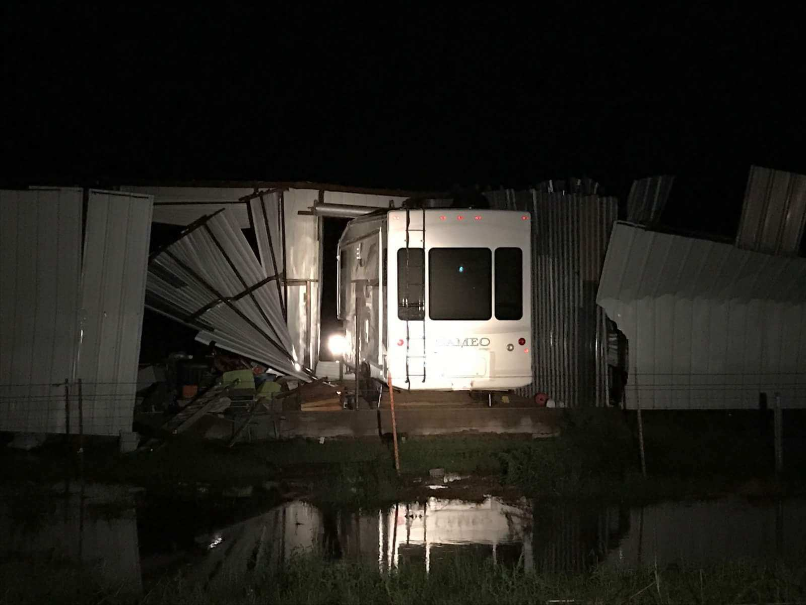 Thursday night storms with high winds cause major damage at an RV storage facility in Portales. (Photo: Roosevelt County Electric Co-op)