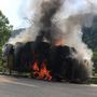 One southbound lane of Route 119 shut down after truck catches fire