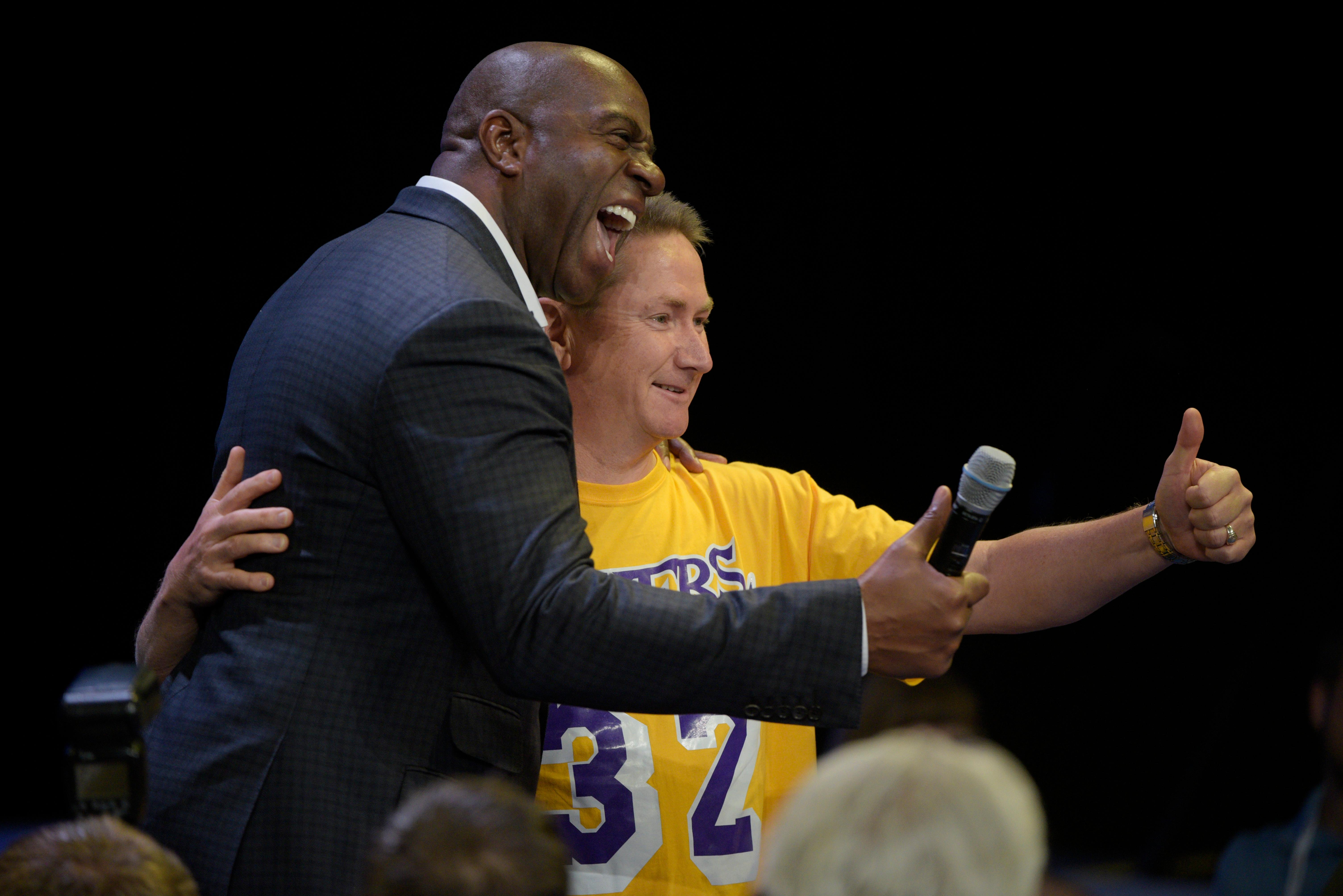 NBA legend and two-time Hall of Famer Earvin Magic Johnson takes a photo with an attendee while delivering a keynote address during the Global Gaming Expo Thursday, October 5, 2017, at the Sands Expo and Convention Center. CREDIT: Sam Morris/Las Vegas News Bureau