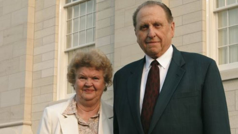 Monson wife front temple LDS church.JPG