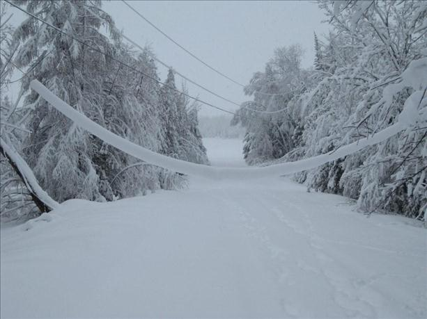 Power lines sag from the weight of ice and snow after the storm.