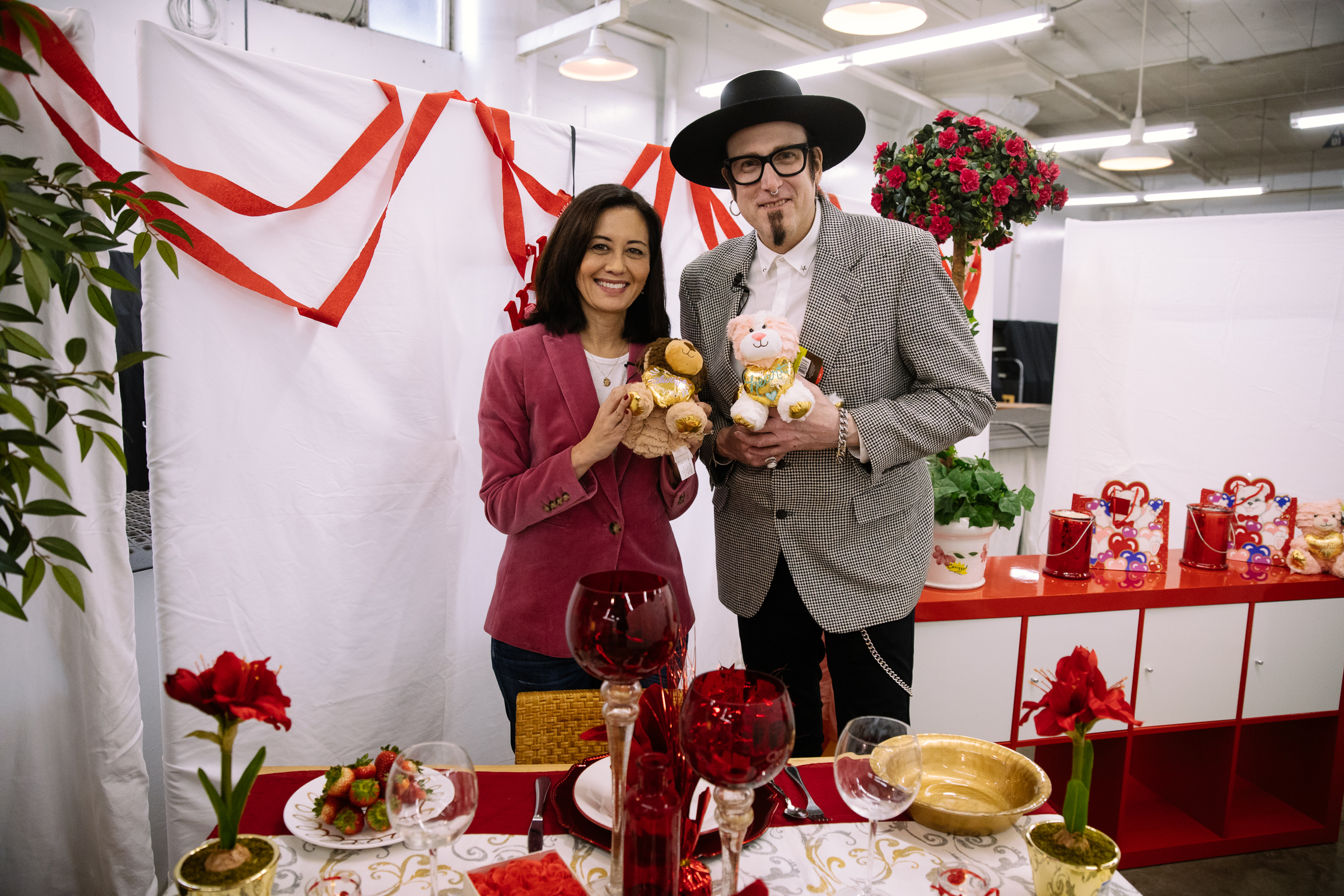 Seattle Goodwill's DIY Guy Gary Foy and Seattle Refined's Malia Karlinsky. Seattle Goodwill is your one-stop shop for Valentine's Day. From new themed gift items to furniture and decor, you'll love the great selection and budget friendly finds. Plus, they have everything you need to create the perfect romantic tablescape, including plates and glass votive holders that you can make DIY projects with. (Photo courtesy Seattle Goodwill)