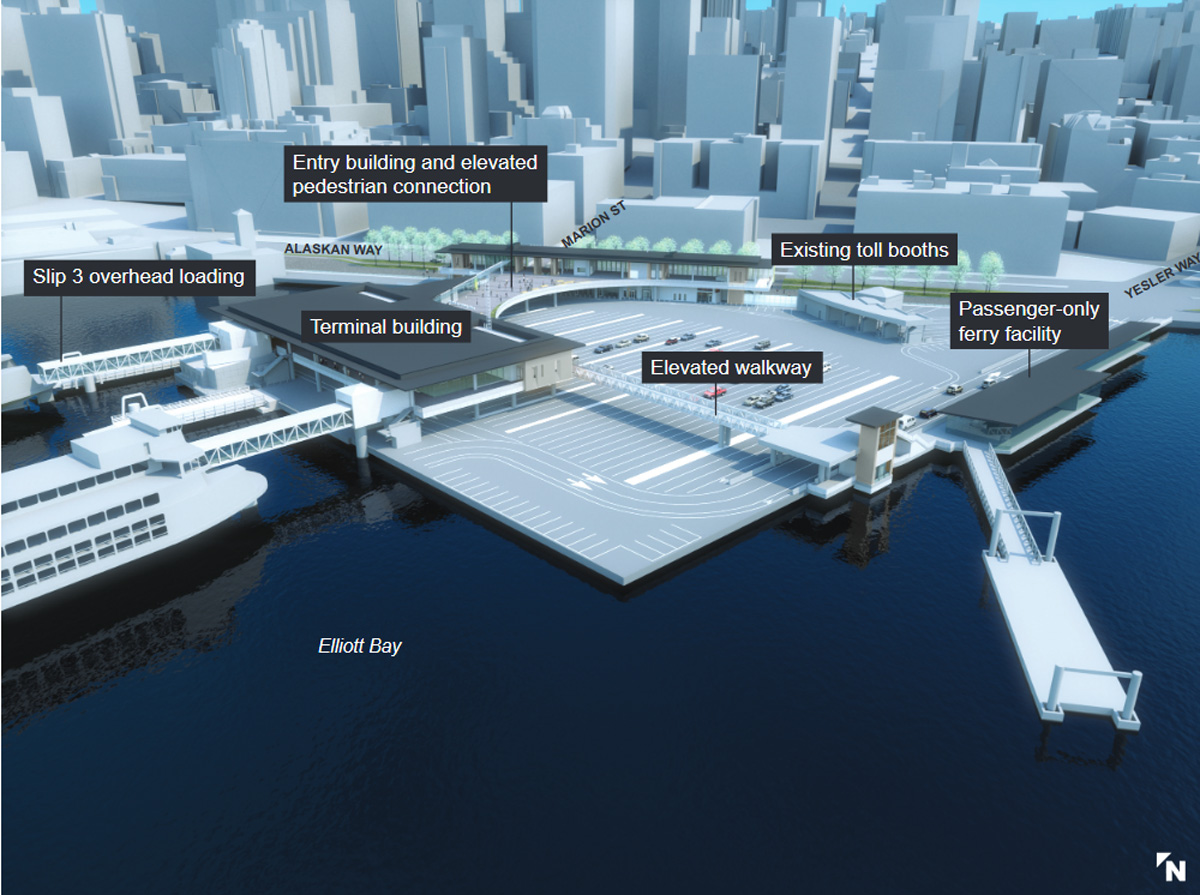 Wash. State Ferries graphic shows the planned new terminal configuration