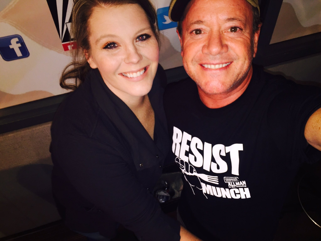 "Jamie and Annie Frey show off the ""Resist We Much"" t-shirt!"