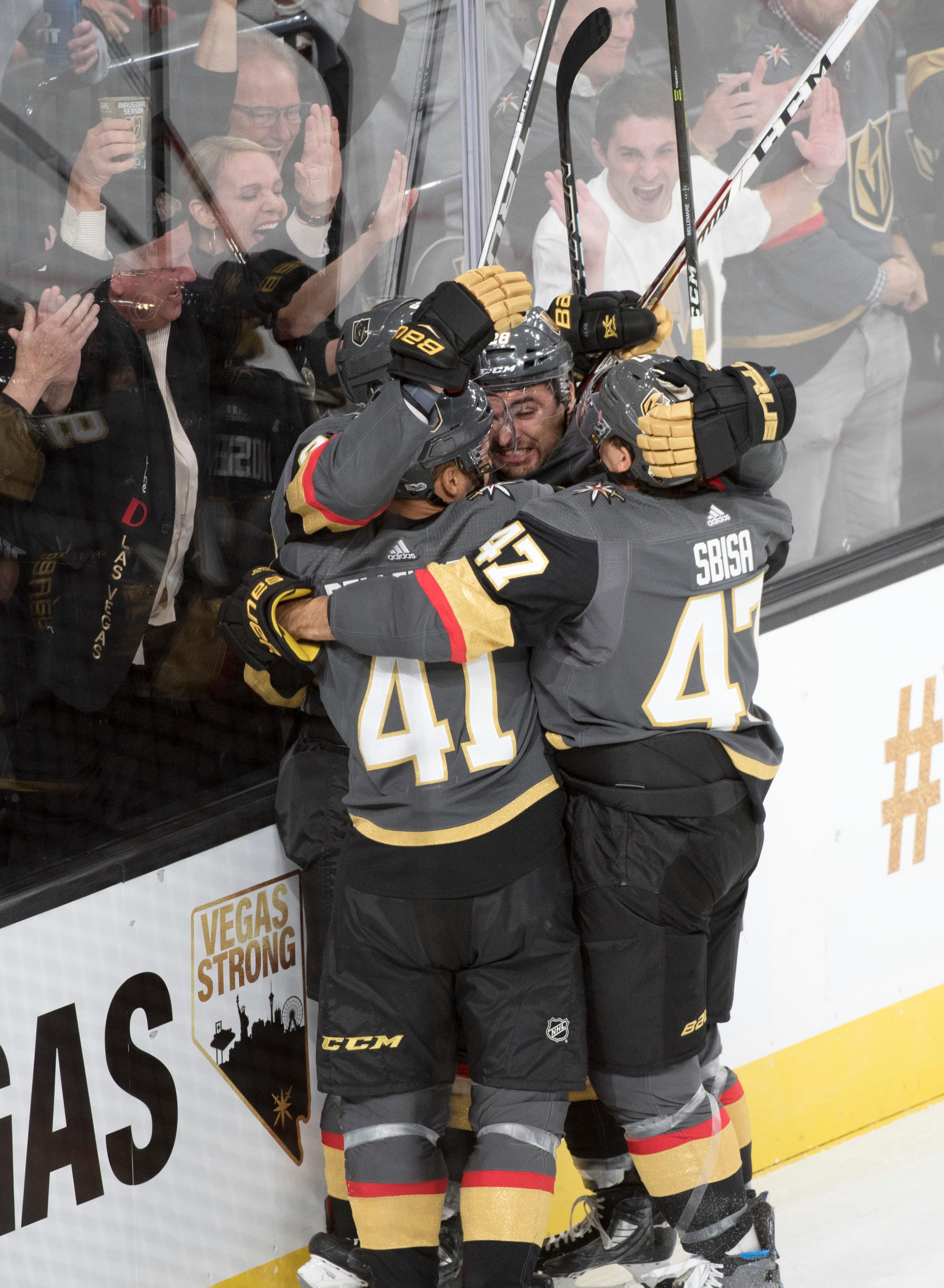 Vegas Golden Knights players celebrate their first home goal against the Arizona Coyotes during the Knights home opener Tuesday, Oct. 10, 2017, at the T-Mobile Arena. The Knights won 5-2 to extend their winning streak to 3-0. CREDIT: Sam Morris/Las Vegas News Bureau