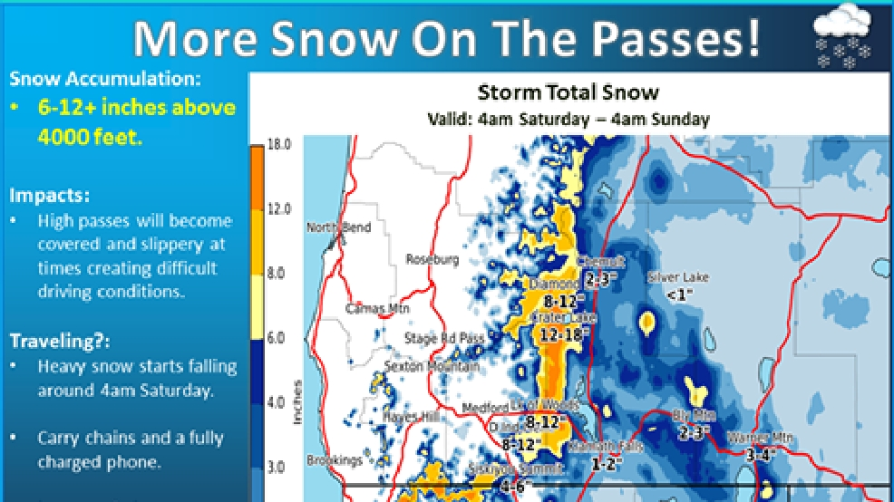 More Snow Expected In Southern Oregon Into The Weekend KVAL - Map of southern oregon