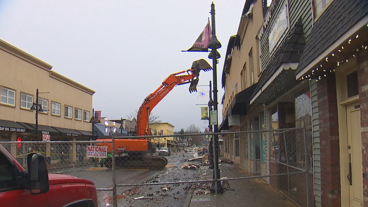 Demolition has begun on the Heritage Building, where there was a devastating fire earlier this week. (Photo: KOMO News)