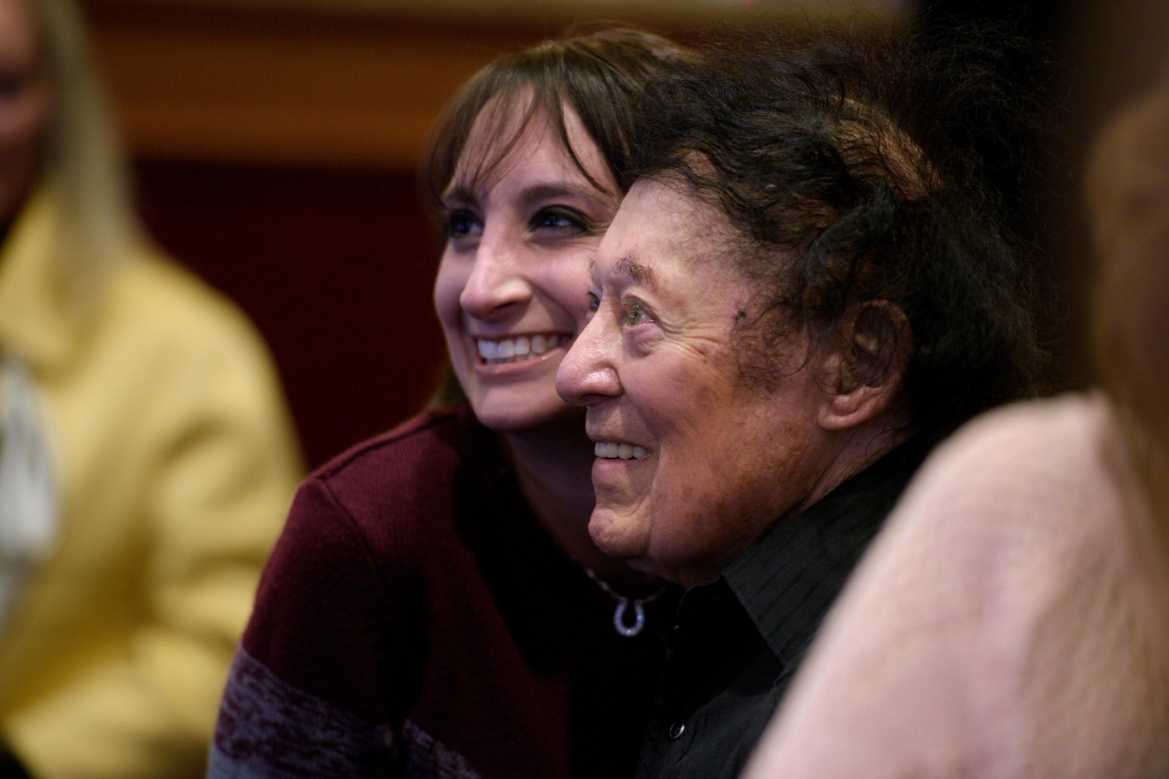 Comedian Marty Allen poses for a photo with a fan after celebrating his 95th birthday with a show at the South Point Thursday, March 23, 2017. [Sam Morris/Las Vegas News Bureau]