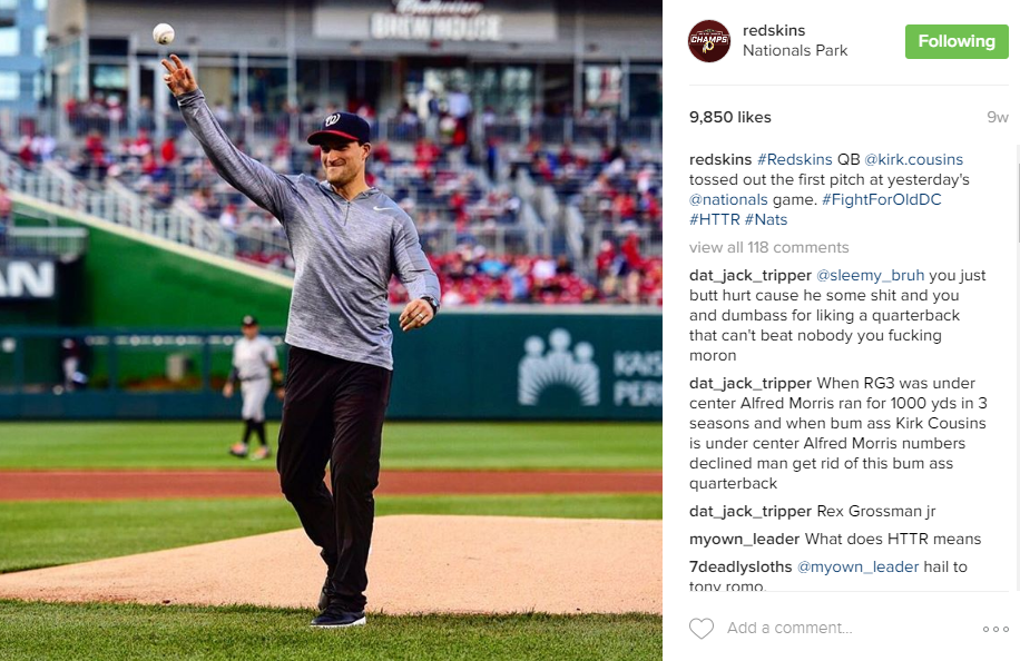 Ah, Captain Kirk manning the mound at Nats Park. Gotta love when the Washington teams cross-promote! (Image: @Redskins Instagram)