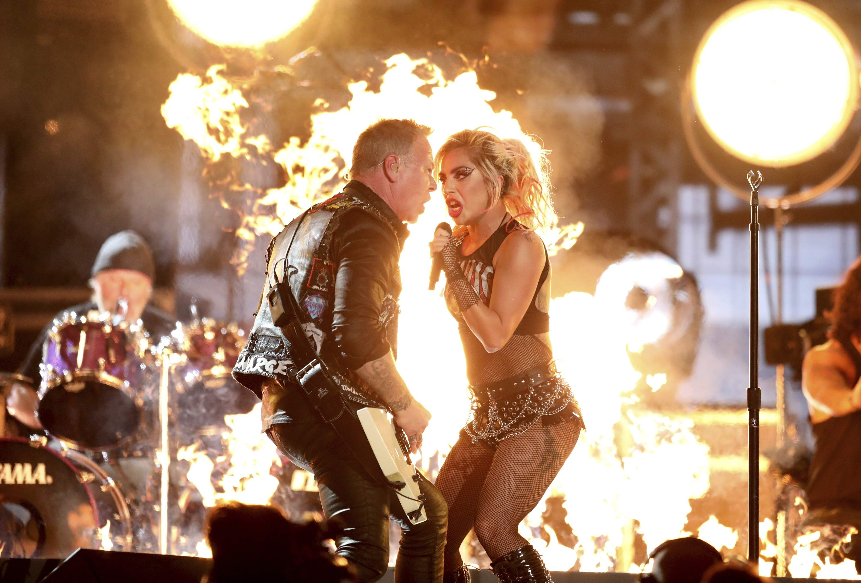 Lady Gaga, right, and James Hetfield of 'Metallica' perform 'Moth Into Flame' at the 59th annual Grammy Awards on Sunday, Feb. 12, 2017, in Los Angeles. THE ASSOCIATED PRESS