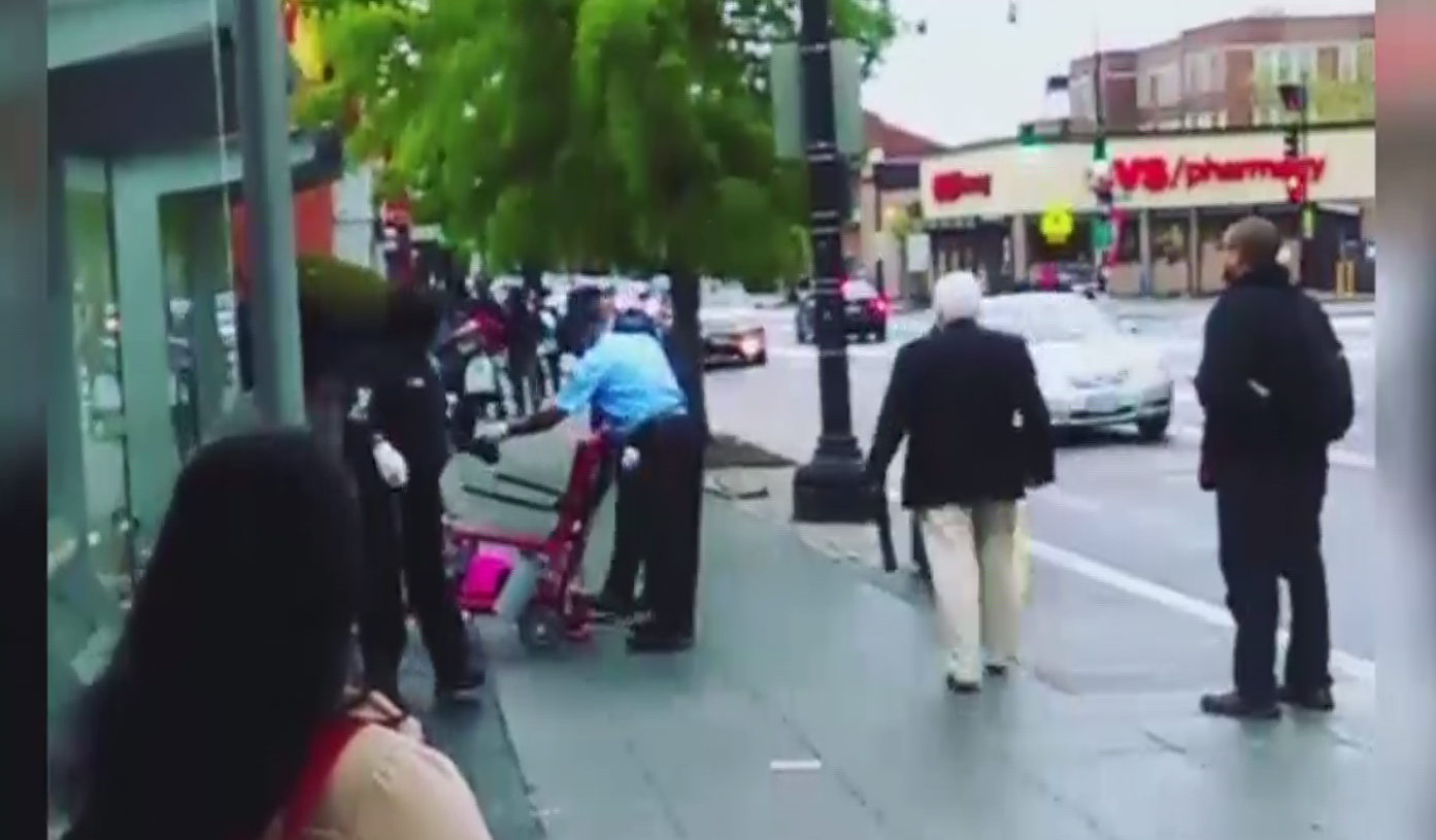 Howard University security guards appear to dump wheelchair-bound woman onto sidewalk. (ABC7)