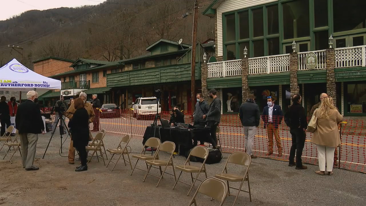 A groundbreaking ceremony was held Thursday, Jan. 21, for Phase One of the Chimney Rock Village Streetscape Improvement Project. The project will include a plaza area in the middle of the village and wider sidewalks. The plan is to enhance sidewalks, improve parking, build new civic plazas and offer more street lighting and trees. (Photo credit: WLOS Staff)