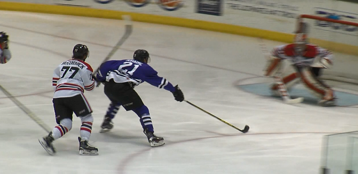 Former Storm forward Brandon Duhaime prepares to take a shot on goal during a game at the Viaero Center. (NTV News)
