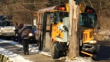 Kalamazoo school bus driver sent to hospital after hitting pole