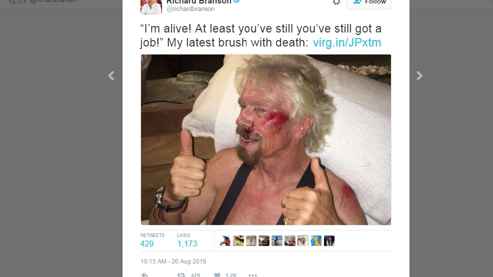 Richard Branson lucky to be alive after horrific bike crash