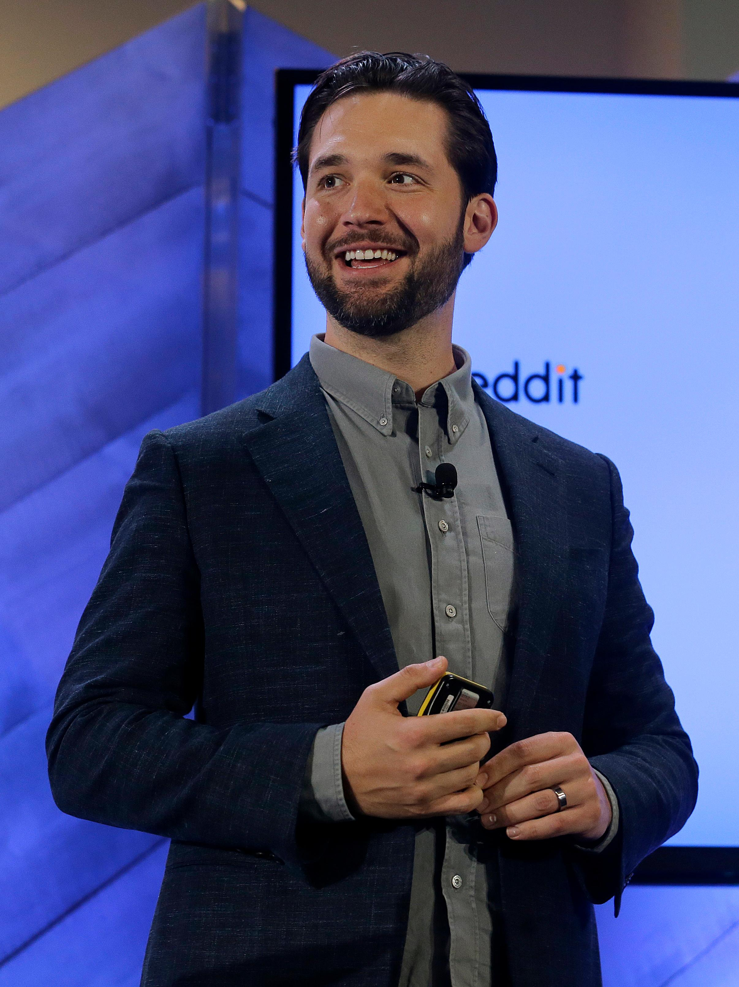Alexis Ohanian, co-founder of Reddit, speaks at a Microsoft event in San Francisco, Wednesday, Dec. 13, 2017. Microsoft rolled out new features on its Bing search engine powered by artificial intelligence, including one that summarizes the two opposing sides of contentious questions, and another that measures how many reputable sources are behind a given answer. (AP Photo/Jeff Chiu)