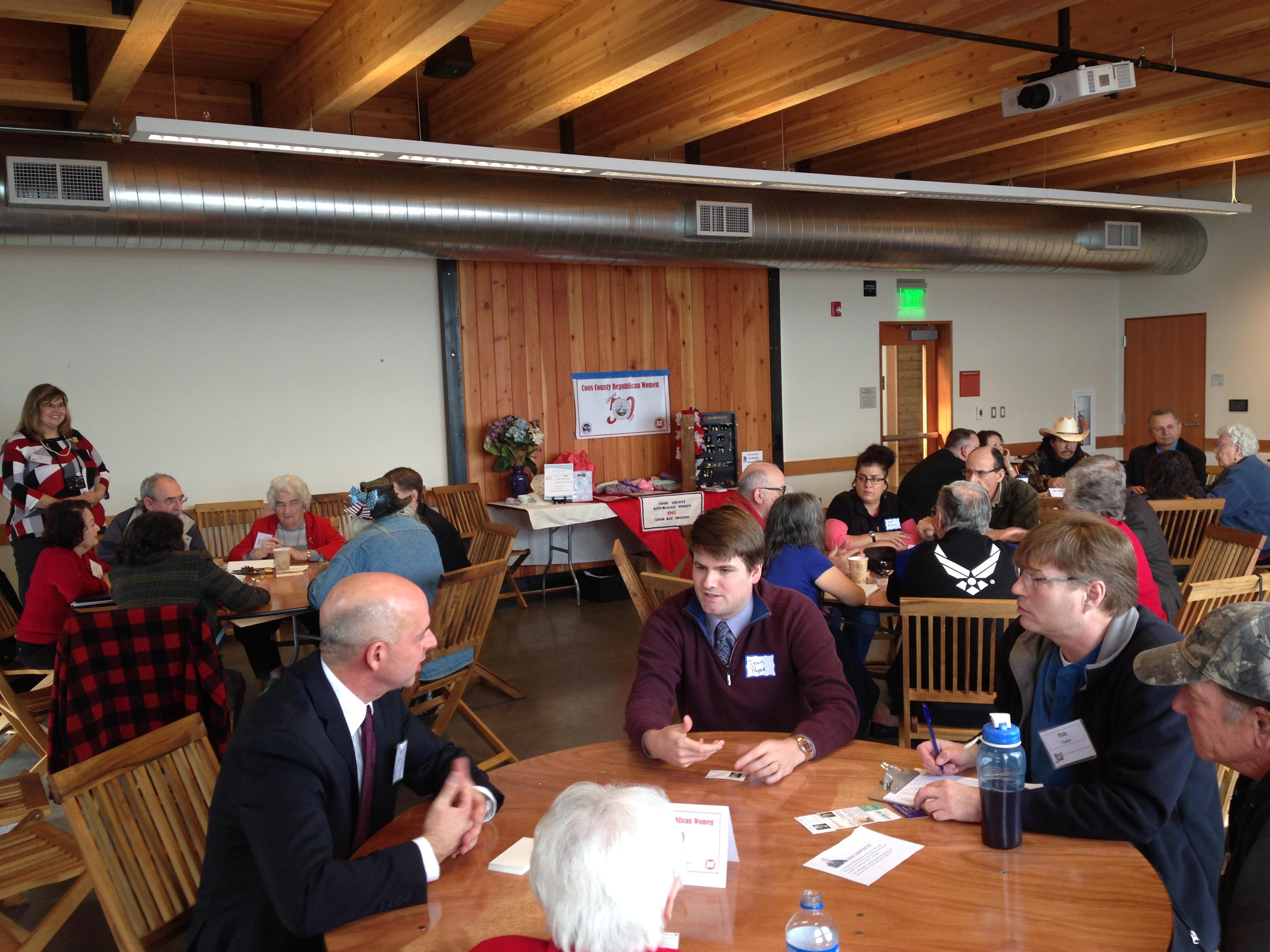 Congressional candidates speak at roundtable hosted by Coos County Republican Women's Club on February 20, 2016.