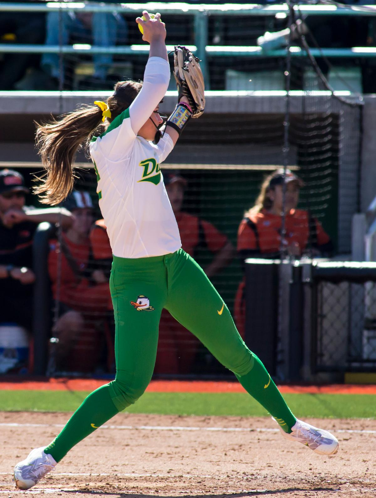 Oregon pitcher Megan Kleist (#22) throws the ball towards home plate. The Oregon Ducks defeated the Oregon State Beavers seven to zero on Sunday, April 30, 2017. The Ducks' victory marked the third victory of the three game sweep against the Beavers. Photo by Ben Lonergan, Oregon News Lab