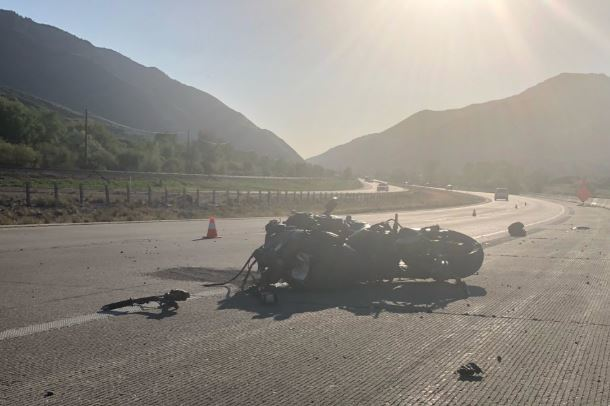 A motorcycle crash killed a man on I-84 Friday. (Photo: Bronagh Tumulty / KUTV)
