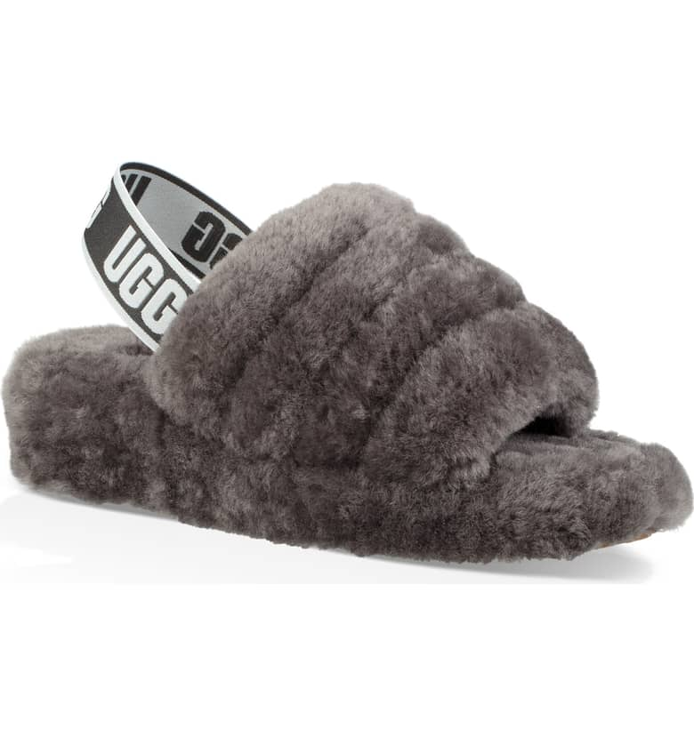 UGG Australia Fluff Yeah Genuine Shearling Slide Slipper, $99.95.{ }Ballin' on a budget this season? Nordstrom found priceless gifts all under $100. You're welcome! (Image courtesy of Nordstrom).