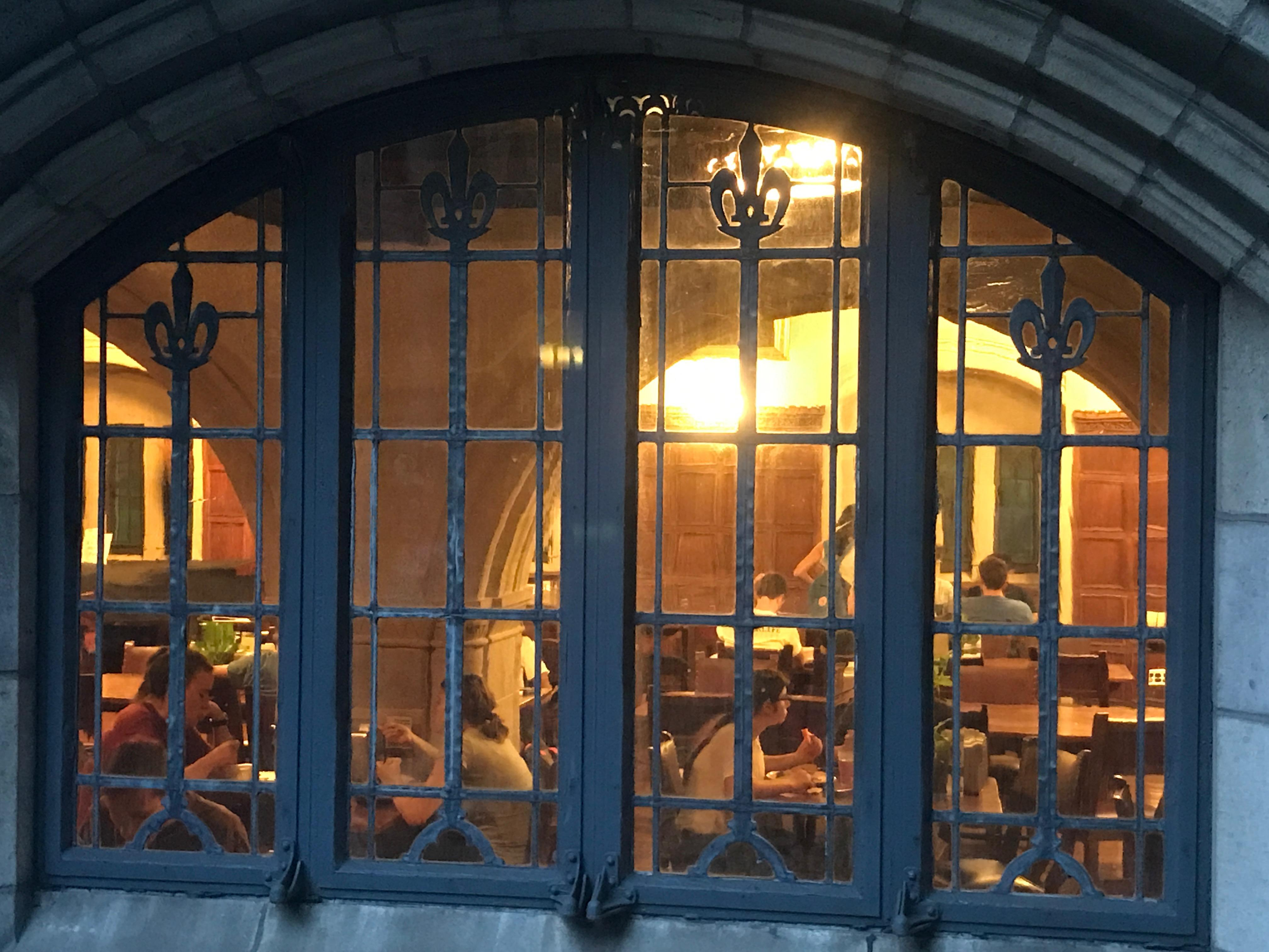 Looking in on a dining hall on Yale's stately campus in New Haven, Conn. (Photo by Rick Holmes)